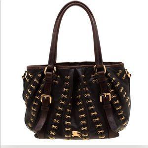 NWOT Burberry metal stitch leather bag